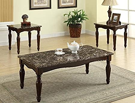 Brand New 3-pk Preston Coffee Table and End Tables Cocktail set with Marble Top