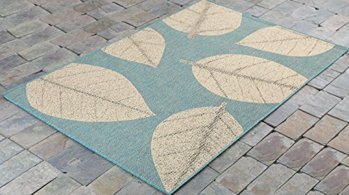"""4'5"""" x7' (135x215cm) Big Leaves, Ocean BlueIndoor & Outdoor Area Rug, Easy to Clean, UV protected & Fade Resistant Furnishmyplace 0583"""