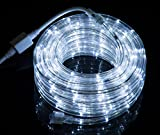48FT Cool White LED Flexible Rope Light Kit For Indoor / Outdoor Lighting, Home, Patio, Garden, Shop Windows, Christmas, New Year, Wedding, Birthday, Party, Event