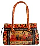 Krishna giving Gita Updesa to Arjuna Design Ethnic Hand Embossed Shantiniketan Leather Indian Shoulder Bag