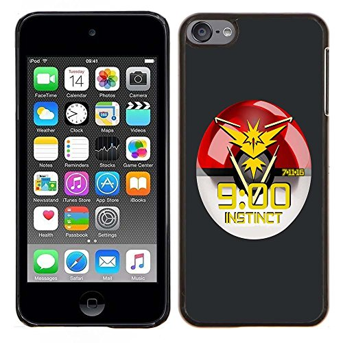 iPod Touch 5 Case, iPod Touch 6 Cases, Pok Mon Go Team Instinct Drop Protection Never Fade Anti Slip Scratchproof Black Hard Plastic Case