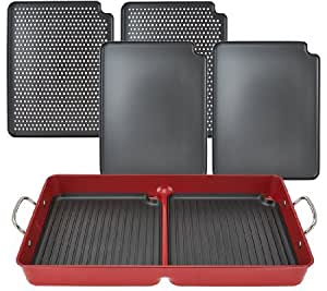 Cooksessentials 7 piece bbq grill pan with removable nonstick plates kitchen dining - Health grill with removable plates ...