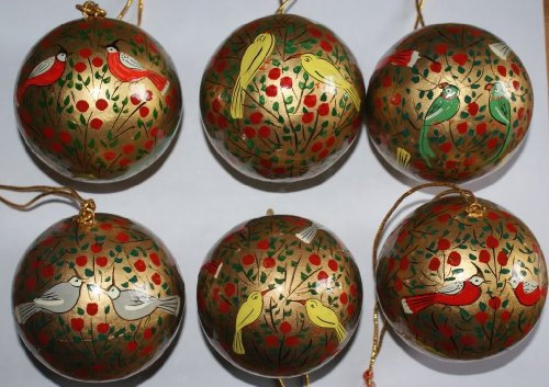 Handmade 6 red and gold bird Christmas Bauble Decorations