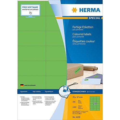 Herma 4409 Étiquettes 70 x 37 A4 2400 pièces Vert
