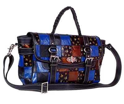 Patchwork Multi-colour Crocodile Print & Finished Leather Ladies Shoulder Bag Klb-130718 by Celestial Leather Limited