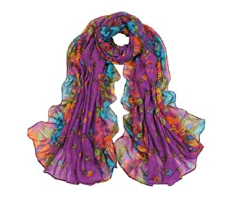 Promithi Lady Womens Colorful Floral Long Scarf Wraps Shawl Stole Soft Scarves (purple)