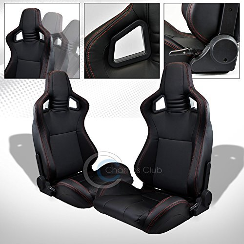 R&L Racing 2X UNIVERSAL MU BLACK PVC LEATHER w/RED STITCHES RACING BUCKET SEATS+SLIDERS C01 (Camaro Ss Racing Seats compare prices)