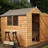 7ft x 5ft Overlap Apex Wooden Storage Shed - Brand New 7x5 Wood Sheds