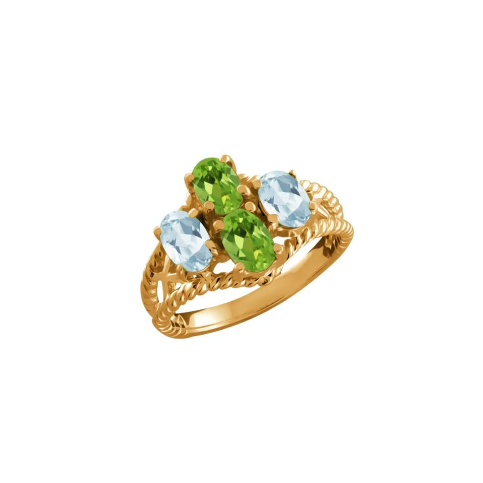 1.86 Ct Oval Green Peridot and Aquamarine Gold Plated Silver Ring