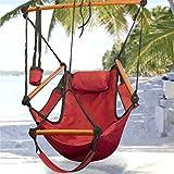 Outdoor Indoor Hammock Hanging Chair Red Deluxe Sky Swing Chair Foot Rest 300Lb