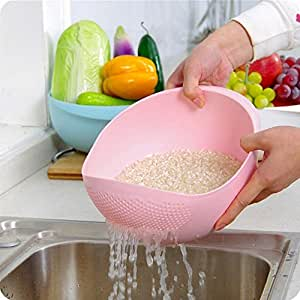 Bulfyss Rice Pulses Fruits Vegetable Noodles Pasta Washing Bowl & Strainer Good Quality & Perfect Size for Storing and Straining - Multicolor (Made in India)