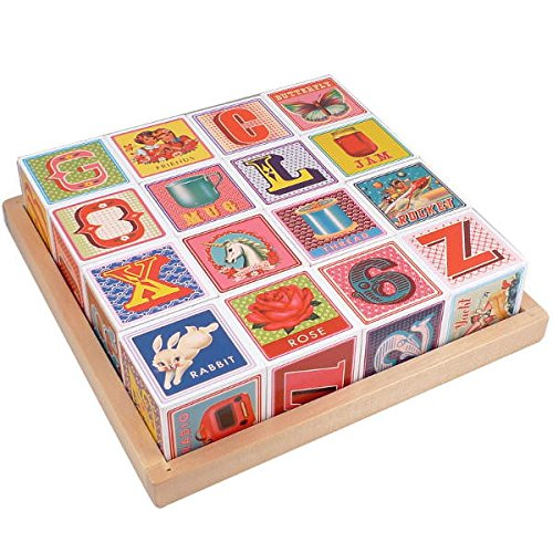 Wood Baby Blocks Vintage Inspired Design Alphabet -Number -Words ABC 123 picture words