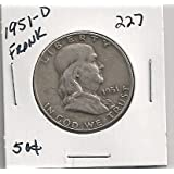 1951-D Franklin Half Dollar in 2x2 coin holder # 227