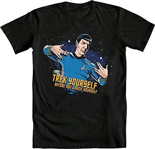 Star Trek Spock Trek Yourself Before Wreck Black Adult T-Shirt (Adult Large)