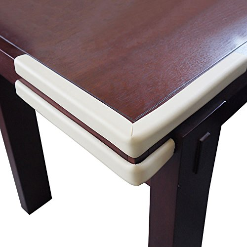 Baby Mate 2 PCS Safety Table Edge Bumper Protectors - Extra Soft Table Corner Desk Edge Cushion - Furniture Edge Guard Baby Safety - Baby Proof Corner Edge Protector (Beige & Brown, 2 PCS)