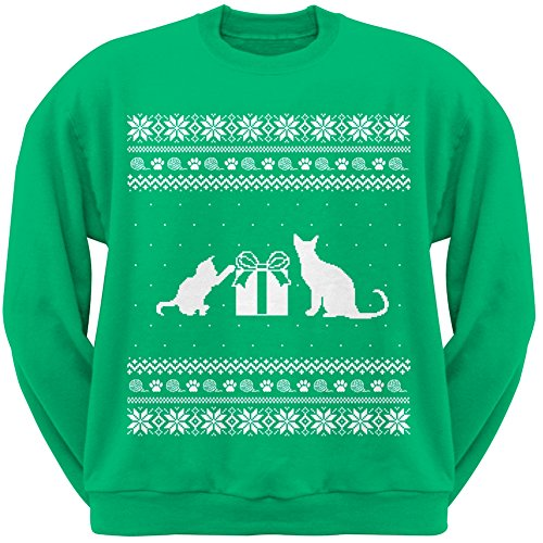 Cats Ugly Christmas Sweater Green Adult Crew Neck Sweatshirt - Large