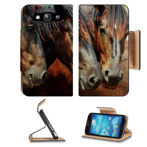 Horse Head Mane Three Brown Color Samsung Galaxy S3 I9300 Flip Cover Case With Card Holder Customized Made To Order Support Ready Premium Deluxe Pu Leather 5 Inch (132Mm) X 2 11/16 Inch (68Mm) X 9/16 Inch (14Mm) Liil S Iii S 3 Professional Cases Accessori