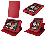 rooCASE Dual-View Multi Angle (Red) Leather Folio Case Cover for Amazon Kindle Fire 7-Inch Android Tablet