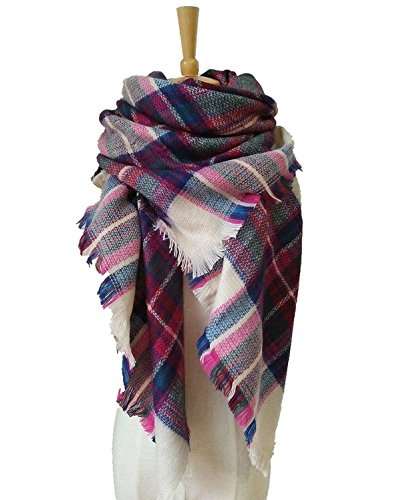 Lanzom Large Tartan Fashion Women Warm Blanket Scarf Lovely Wrap Shawl (Color 5)