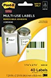 Post-it Multi-Use Designer Series Labels, 4 Designs, Write Only, 1 3/4 x 2 3/4 Inches, 10 Sheets per Pack (6250-SD)