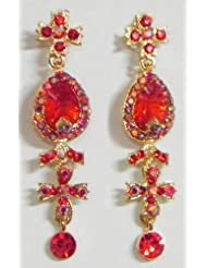 Red Stone Studded Dangle Earrings - Stone And Metal - B00K4F66GI