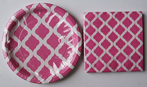 Birthday Party Supply Set Pink Quatrefoil Pattern - Napkins Plates