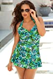 b. belle Green Island Safari Plus Size Twist Front Swimdress Women's Swimsuit thumbnail