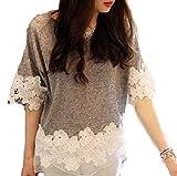 レディース 半袖 Tシャツ 花柄 かわいい コットン カットソー グレー