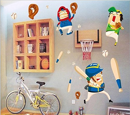 Cartoon Baseball Boy Bedroom Wall Stickers front-840395