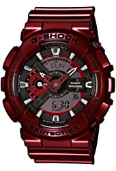 Casio G-Shock Red-Tone Analog Digital Dial Resin Quartz Men's Watch GA110NM-4A