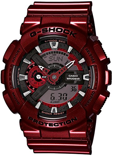 Casio G-Shock Red-Tone Analog Digital Dial Resin Quartz Men's Watch GA110NM-4A