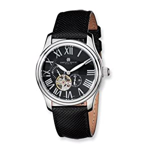 Stainless Steel Case Black Dial Automatic Watch by Charles Hubert Paris Watches, Best Quality Free Gift Box Satisfaction Guaranteed