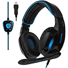 2017 Sades New Version SA902 Blue 7.1 Channel Virtual USB Surround Stereo Wired PC Gaming Headset Over Ear Headphones...