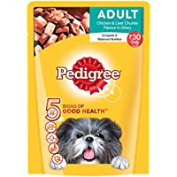 Pedigree Gravy Adult Dog Food Chicken & Liver Chunks, 80 g (Pack of 15)