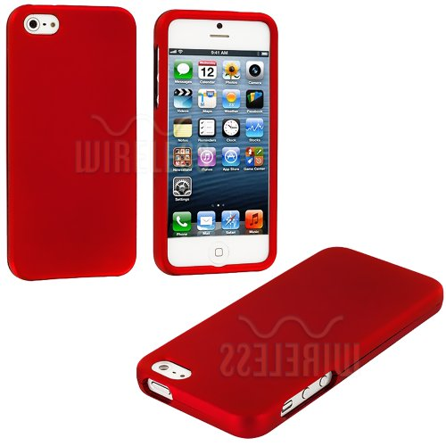 Mylife (Tm) Red Flat Series (2 Piece Snap On) Hardshell Plates Case For The Iphone 5/5S (5G) 5Th Generation Touch Phone (Clip Fitted Front And Back Solid Cover Case + Rubberized Tough Armor Skin + Lifetime Warranty + Sealed Inside Mylife Authorized Packag