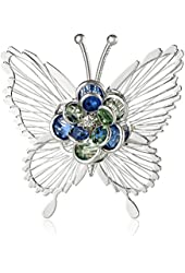 """Napier """"Giftable"""" Silver-Tone and Multi-Colored Butterfly Pin"""