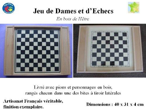 Jeu d'échecs et de dames en bois, artisanat Français, finition exemplaire.