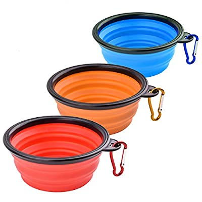 WAOAW Collapsible Dog Bowl, Food Grade Silicone BPA Free FDA Approved, Foldable Expandable Cup Dish for Pet Cat Food Water Feeding Portable Travel Bowl Free Carabiner