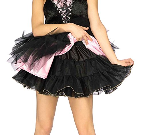 Sexy Short Black + Gold Slip Petticoat Crinoline Skirt One Size Fits Most