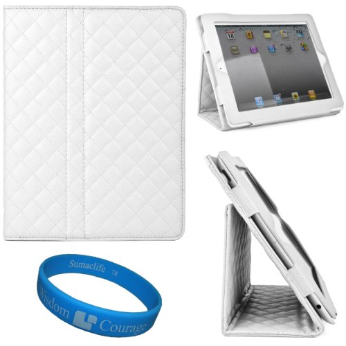 White Quilted Diamond Design Leather Portfolio Case Cover with Integrated Fold to Stand Feature for Apple New iPad (iPad 3rd Generation) iPad 3 (16GB 32GB 64GB) and Apple iPad 2 + SumacLife TM Wisdom Courage Wristband