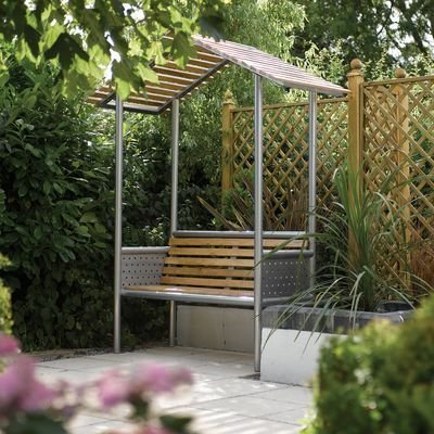 Monaco Contemporary Garden Arbour with Metal Frame and Wooden Seat OGD046