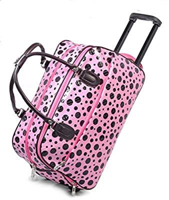 LIGHTWEIGHT Ladies (High Quality Fashion) Travel Bags Holdall Hand Luggage Womens Weekend Handbag Wheeled Trolley (FASHION BAG PINK WITH BLACK SPOTS DESIGN) IDEAL BAG FOR OVERNIGHT & WEEKENDS WOMENS GIRLS TRAVEL FLIGHT LUGGAGE MATERNITY HOSPITAL SPORT GYM