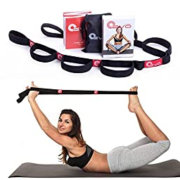 Yoga EVO Elastic Stretching Strap with 10 Flexible Loops + eBook & 35 Online Stretch Video Exercises and Pilates Workouts (Black)