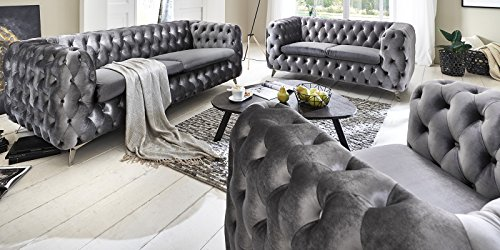 Sofagarnitur-3-2-1-silber-grau-Chesterfield-Emma-Samtstoff-Knpfung-Modern-Landhausstil