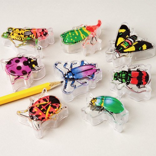 Lot Of 12 Assorted Design Insect Theme Pencil Sharpeners - 1