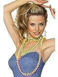 Toy - Smiffy's - Perlenkette Neon 80er Jahre 4er Pack Perlen f�r Damen Kette Nena 80ige