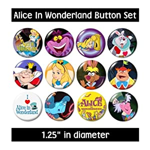 Amazon.com: ALICE IN WONDERLAND BUTTONS pins badges 1951
