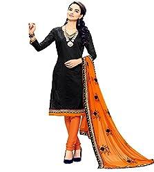 Krishna Present All New Design Of Black Color Cotton Dress Material With Dupatta..