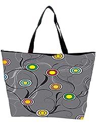 Snoogg Colorful Circles Grey Designer Waterproof Bag Made Of High Strength Nylon