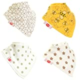 Zippy Fun Baby and Toddler Bandana Bib - Absorbent 100%cotton Front Drool Bibs with Adjustable Snaps (4 Pack Gift Set) Unisex Stylish Cream